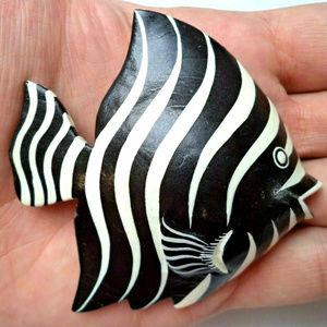vintage black white stripe large fish brooch pin